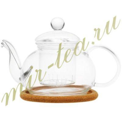 003820 Чайник стекло 480ml с заварочной колбой, дно d95 мм.