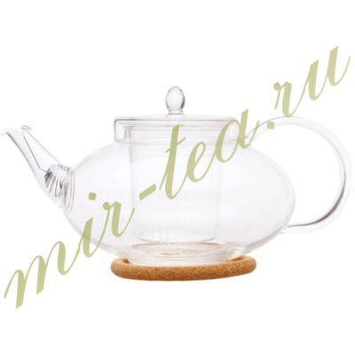 003838 Чайник стекло 1000ml с заварочной колбой, дно d75 мм.