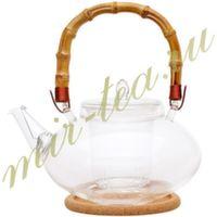 003843 Чайник стекло 1000ml с заварочной колбой, дно d80 мм.